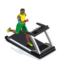 Treadmill Fitness Class Working Out 3D Flat Image vector