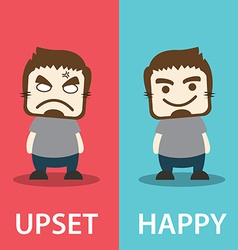 Upset And Happy vector image