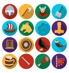 Vikings set icons in flat style Big collection of vector image
