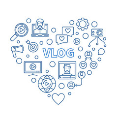 vlog heart concept blue thin line vector image