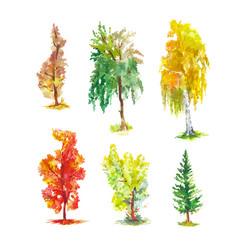 Watercolor autumn trees set bright sketches vector