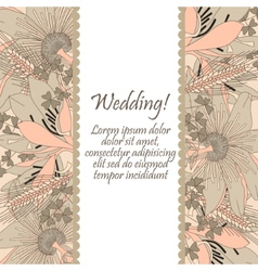 Wedding card with flowers lily vector