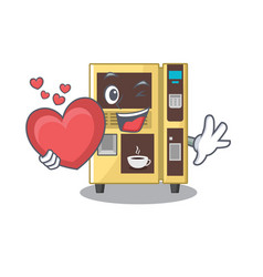With heart coffee vending machine in a karakter vector
