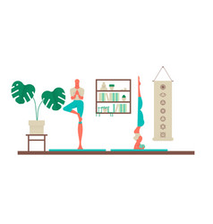Woman and man doing yoga poses at home vector