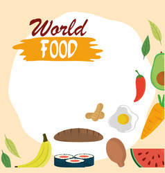 world food day bread chicken fruit vegetable vector image