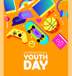 Youth day card of fun teen activity icons vector