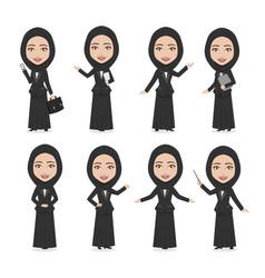 hijab muslim female character business woman vector image