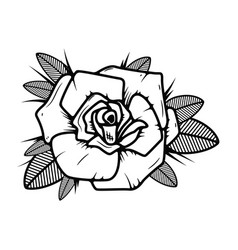tattoo style rose on white background design vector image vector image