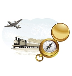compass train and plane vector image