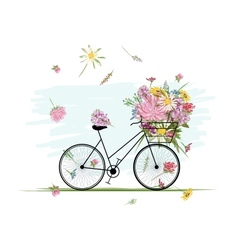 Female bicycle with floral basket for your design vector image