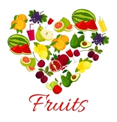 Fruit heart icon with fresh fruits icons vector image vector image