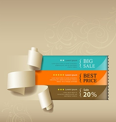 Show colorful paper roll for sales collections vector image vector image