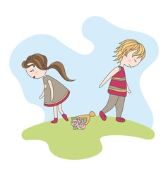 Unfortunate date of abstract boy and girl vector