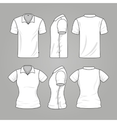 Blank white mens and womens t-shirt outline vector image