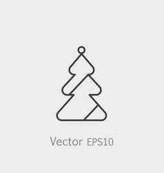 christmas tree icon in flat style isolated on grey vector image vector image
