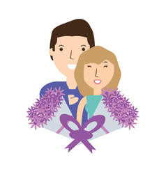 couple lover with romantic bouquet flowers vector image vector image