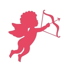cupid angel with arch silhouette isolated icon vector image vector image