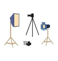 flat professional photo equipment set vector image vector image