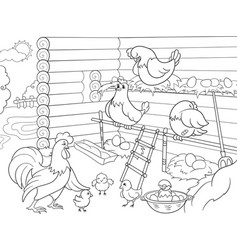 Interior and life of birds in the chicken coop vector
