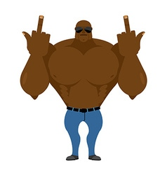 Big strong man Bodybuilder in jeans shows vector image