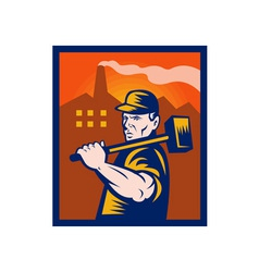 factory worker with sledgehammer vector image