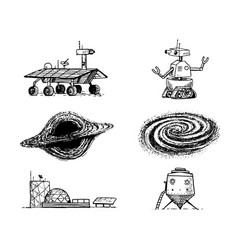 space shuttle black hole and galaxy robot and vector image vector image