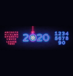 2020 happy new year neon sign new year vector image