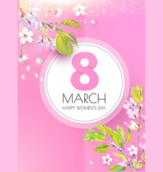 8 march women s day cherry blossom flower vector