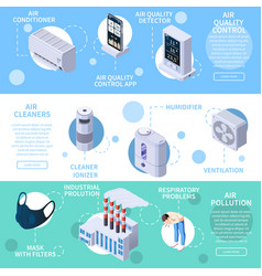 Air purification banners set vector