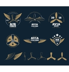 Aircraft design elements and logos vector