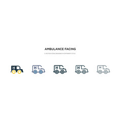 Ambulance facing left icon in different style vector
