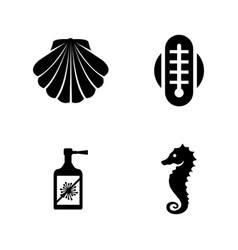 Aquarium equipment simple related icons vector