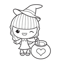 Black and white witch mascot and love potion vector