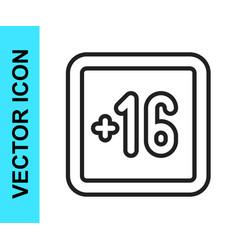 Black line plus 16 movie icon isolated on white vector