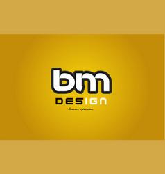 bm b m alphabet letter combination digit white on vector image vector image