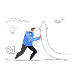businessman raising financial arrow up growth vector image