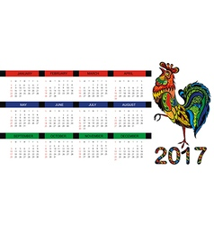 Calendar for 2017 year with fairy rooster vector image