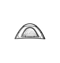 camping tent hand drawn outline doodle icon vector image