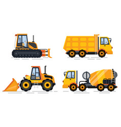 Cement mixer and truck transporting cargo set vector