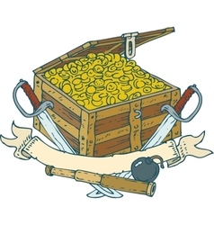 Chest with Coins Bomb Spyglass Sabers and vector image