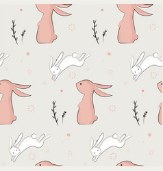 Childish pattern with cute rabbits vector