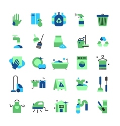 Cleaning Flat Color Icons Set vector image