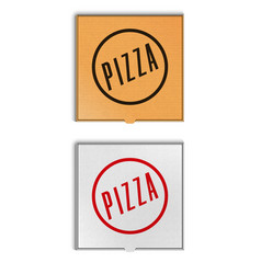 closed pizza packaging mockup round logo and vector image