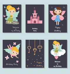 collection of cute birthday cards collection of vector image
