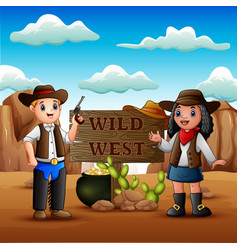 Cowboy twirling a lasso in wild west background vector