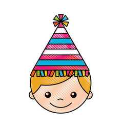 Cute boy with party hat character vector