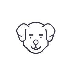 cute dog head line icon sign vector image