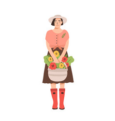 cute smiling woman in rubber boots holding basket vector image