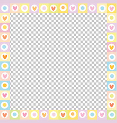 Cute square love border made of doodle hearts in vector