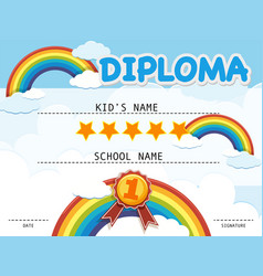 Diploma template with rainbow in the sky vector